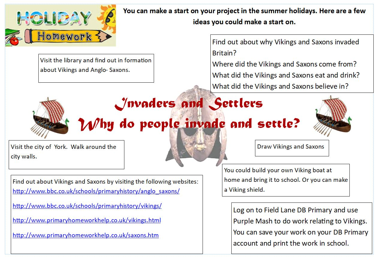 invaders and settlers holiday homework