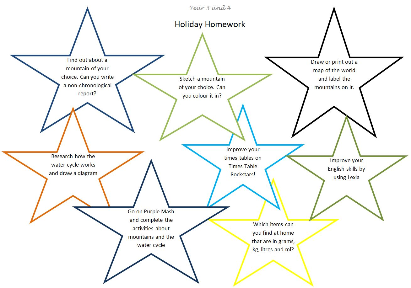 mountains topic sheet holiday homework